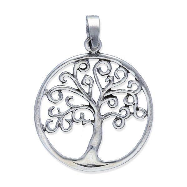 colgante plata 925 lisa árbol de la vida circular talla M diámetro 21mm