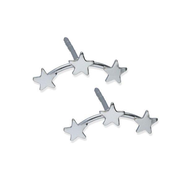 Pendientes plata de ley 925 liso 3 estrellas mini.