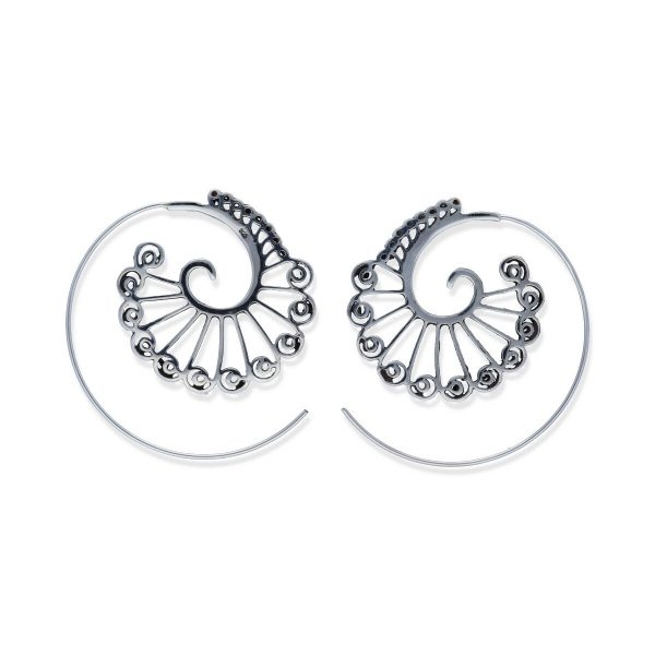 pendientes plata 925 lisa gipsy espiral caracol con hojas, diámetro 32mm
