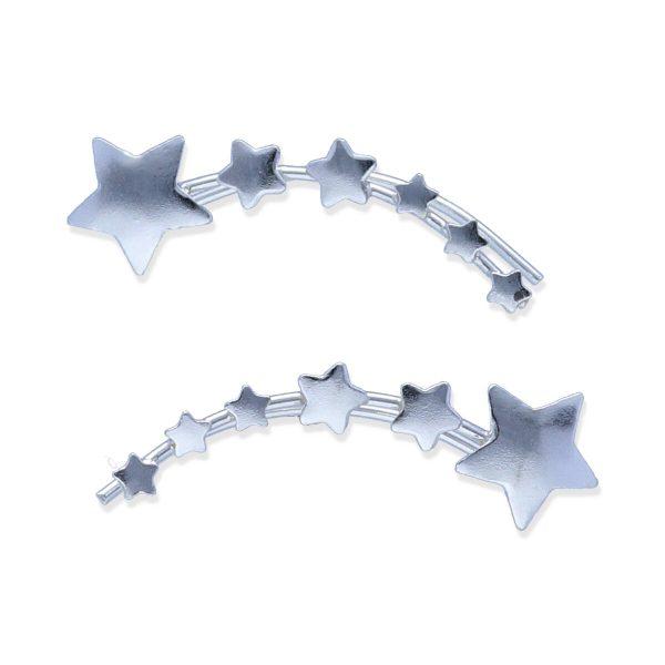 Pendientes plata de ley 925 lisa trepadores 6 estrellas disminuyendo de tamaño de 21,5mm.