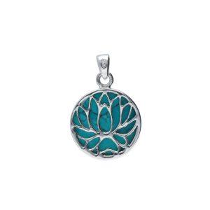 Colgante doble cara flor de loto con turquesa verde