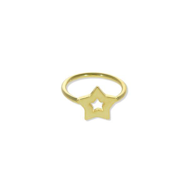 Anillo de plata de ley 925 con baño de oro de 18 quilates con estrella de 12mm.