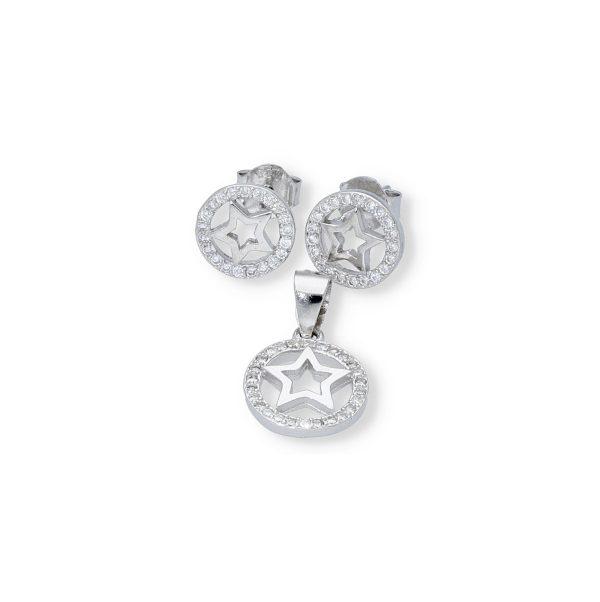 Conjunto plata de ley 925 circonita con estrella