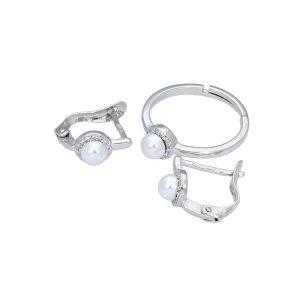 Conjunto perla y circonita