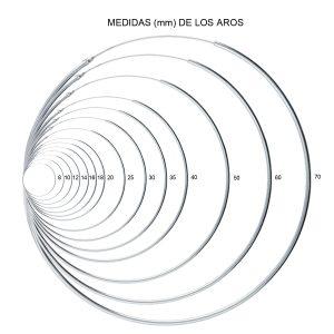 Aros lisos 1,2mm de Ø 08 a 18mm