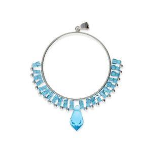 Colgante círculo de cuentas azul de piedras y cristal