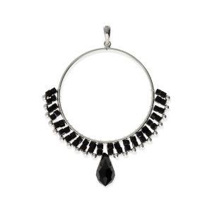 Colgante círculo de cuentas negro de piedras y cristal