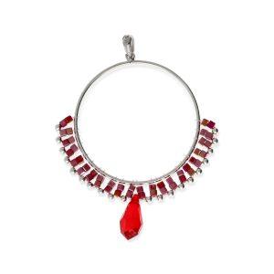 Colgante círculo de cuentas rojo de piedras y cristal