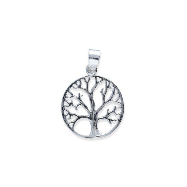 Colgante plata de ley 925 lisa árbol de la vida de 20mm.