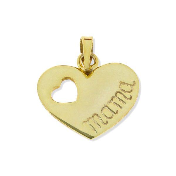 Colgante de plata de ley 925 con baño de oro de 18 quilates con corazón grabado mama de 13x15mm.