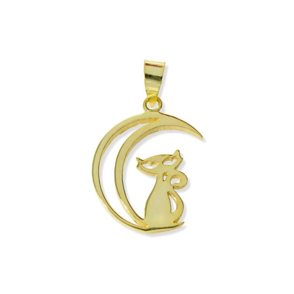 Colgante de plata de ley 925 con baño de oro de 18 quilates con gato en la luna de 17x25mm.