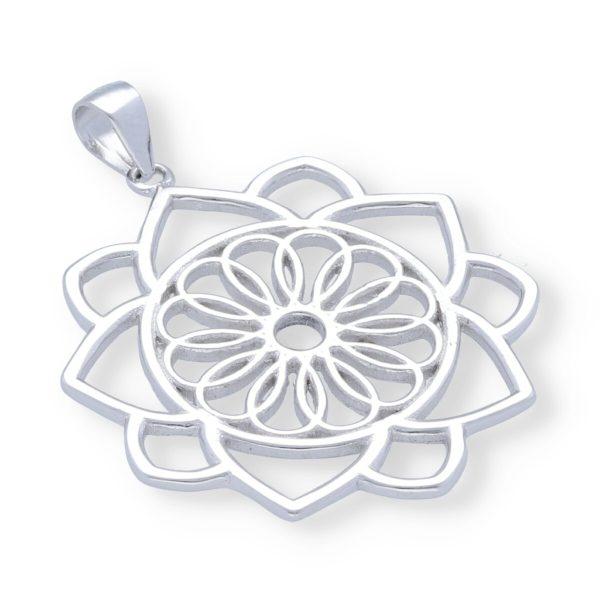 Colgante plata de ley 925 mandala con flor de la vida de 29mm.