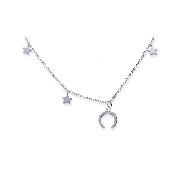 Gargantilla plata de ley 925 circonita con 3 estrellas y una luna invertida o moonset de 20cm y cierre de reasa.