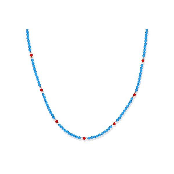 Gargantilla de plata de ley 925 de cuentas de piedras y cristal azul con bolitas rojas y de plata de 2mm y de 43cm de largo con cierre reasa.