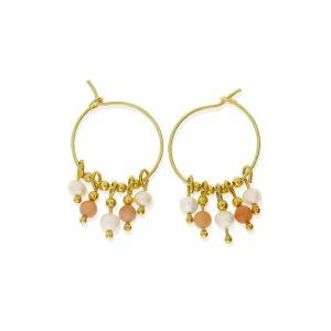 Pendientes aro con bolitas doradas, colgantes perla y coral rosa