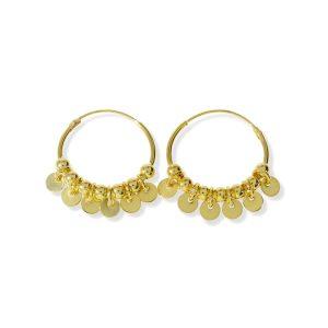 Pendientes aro con círculos y bolitas dorados