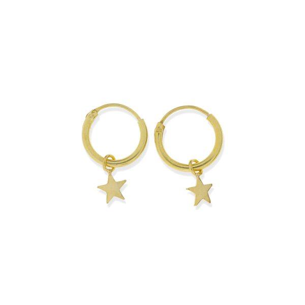 Pendientes de plata de ley 925 con baño de oro de 18 quilates con aro de 1,2x12mm y colgante estrella círculo de 4,5mm.