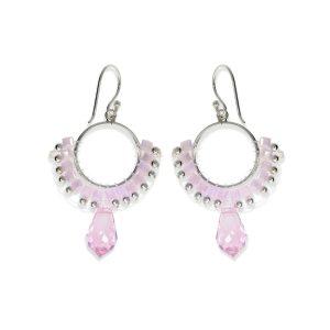 Pendientes círculo de cuentas rosa de piedras y cristal