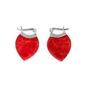 Pendientes gota coral rojo