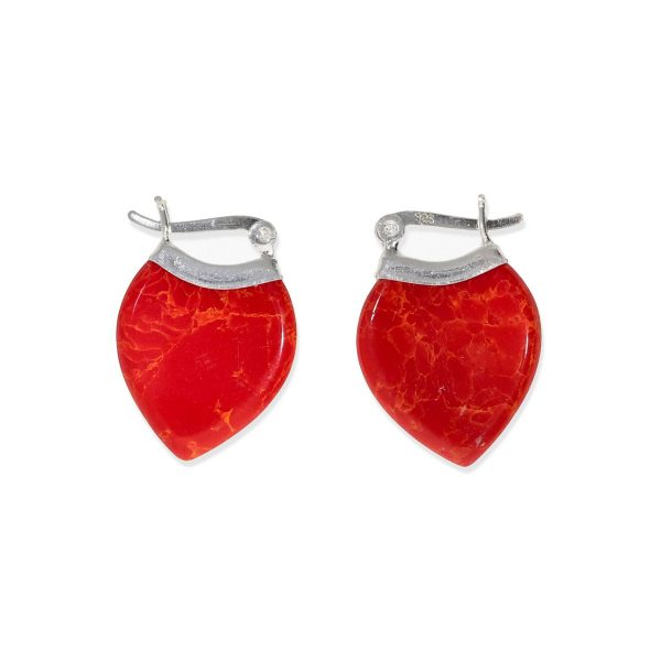 Pendientes de plata de ley 925 en forma de gota de coral rojo de 17x24mm.