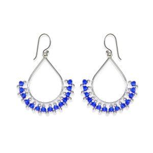 Pendientes gotas de cuentas azules de piedras y cristal