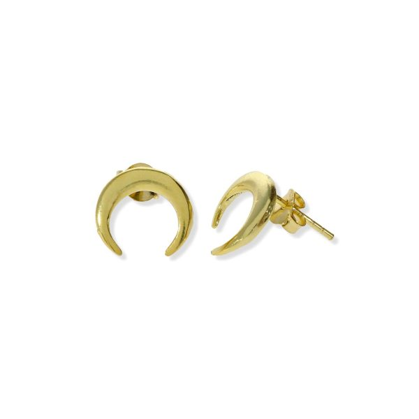 Pendientes de plata de ley 925 con baño de oro de 18 quilates con luna invertida o moonset mini de 7,5mm y cierre presión.