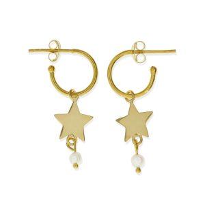 Pendientes semiaro con estrella dorados y perla