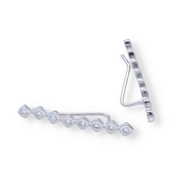 Pendientes plata de ley 925 trepadoresrectocon 8 circonitas rombo de 25,5mm.