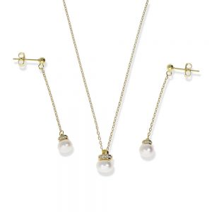 Conjunto de perla dorado