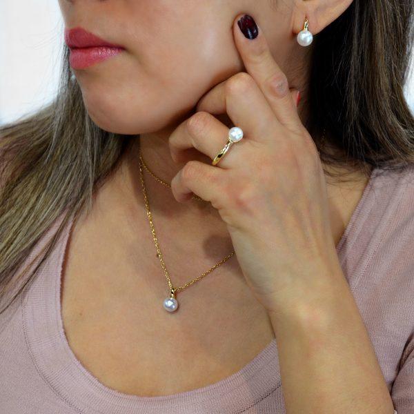 Conjunto de plata con perla y bañado en oro